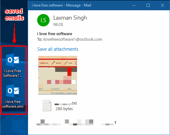 emails saved from mail app of windows 10