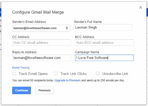 fill sender details