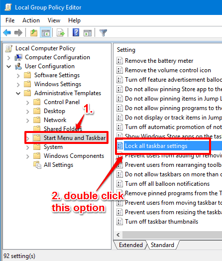find and double click lock all taskbar settings option