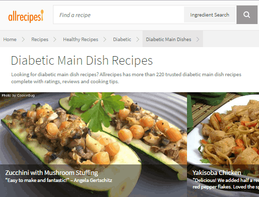 free online diabetic cookbook website- allrecipes