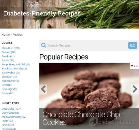 free online diabetic cookbook website- diabeticlifestyle- diabetic recipes