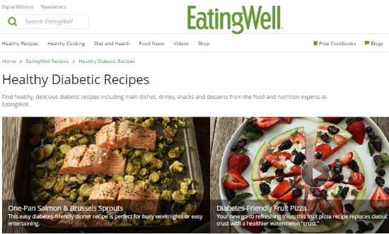 free online diabetic cookbook website- eating well- healthy diabetic recipes