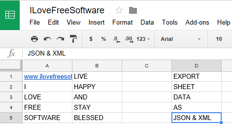 how to export google sheet data as JSON and XML