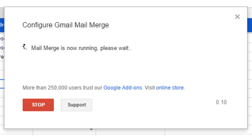 mail merge started