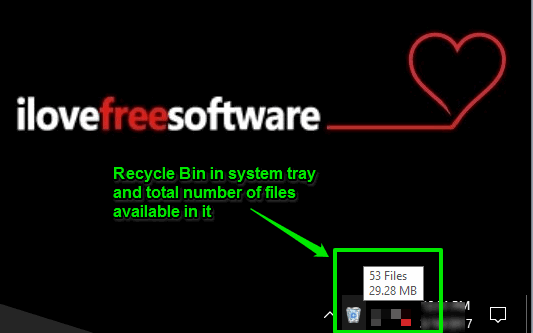 recycle bin visible in windows 10 system tray