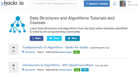 search results of programming courses on hackr