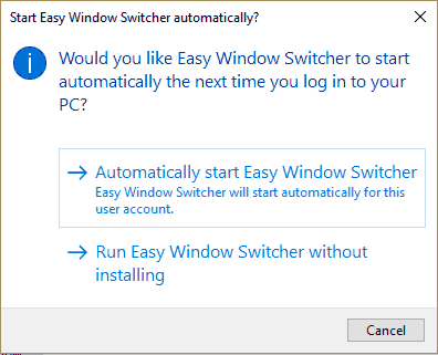 select an option to run this software