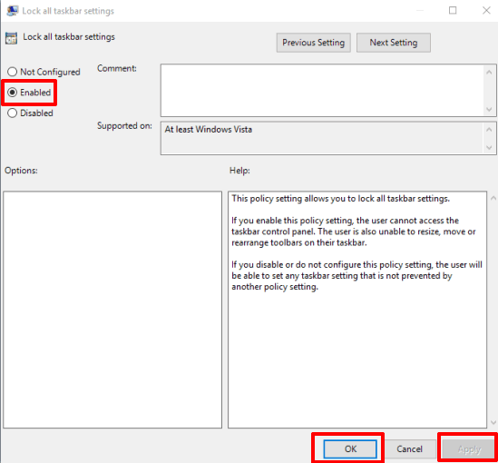 select the enabled option and save changes