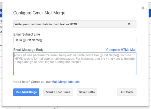 set subject line and message and send emails