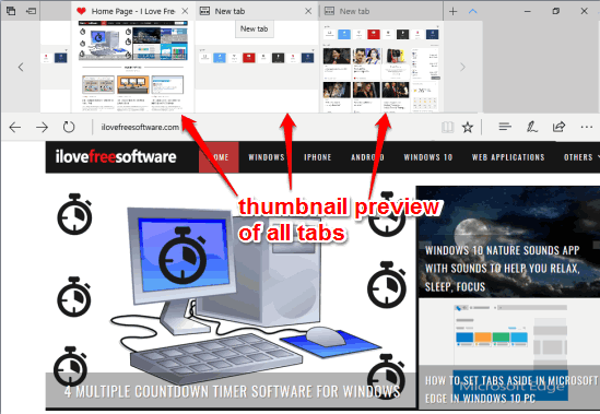 Show or Hide Thumbnail Preview of All Tabs Together In