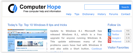 Computer Hope Interface