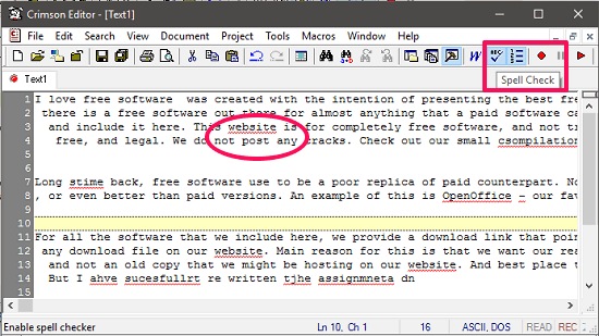 Crimson Editor spell check