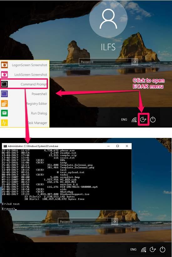 EOAR opening commadn window at logon screen