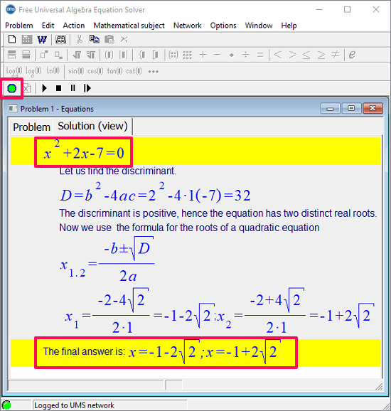 Free Universal Algebra equation Solver