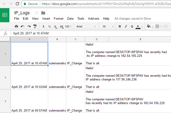 How To Log IP Address Changes In Google Sheets