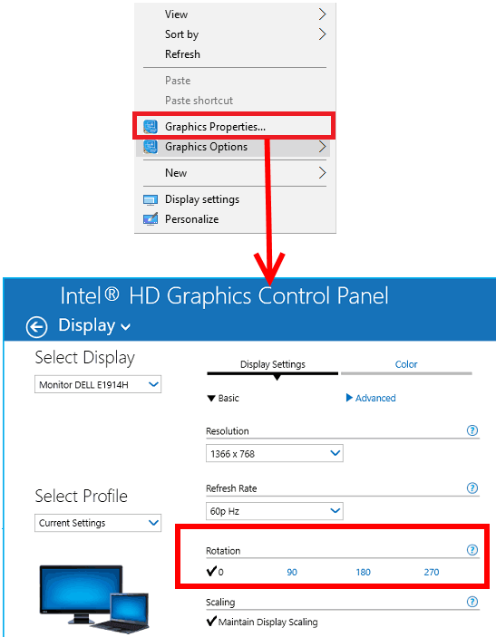 Intel graphics rotation options