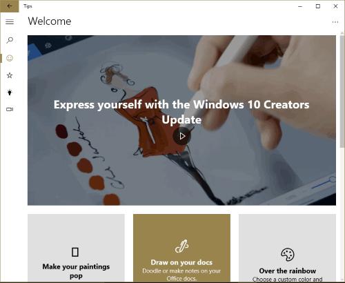 Microsoft Tips app- interface