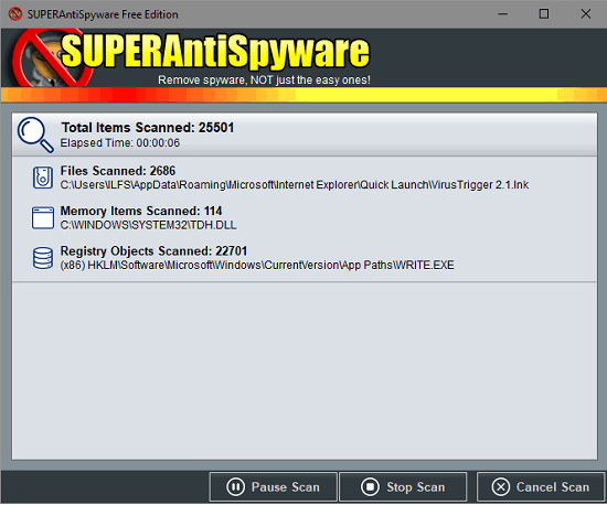 SUPERAntiSpyware Online Safe Scan
