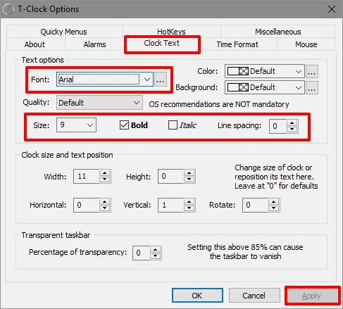 T-Clock options window changing font