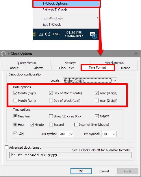 T-Clock options window