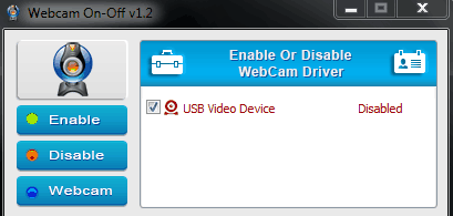 Webcam ON-OFF- Disable the webcam