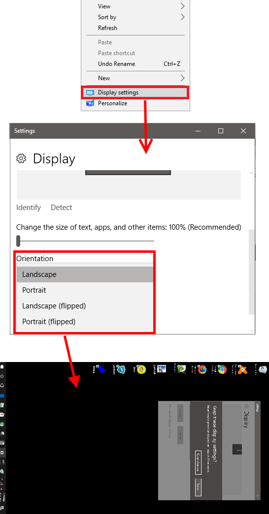 Windows 10 display setting to rotate windows desktop