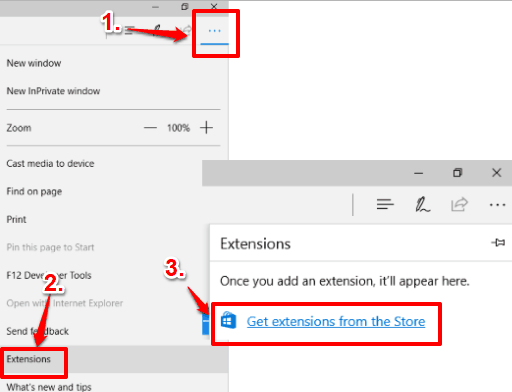 access extensions option in microsoft edge