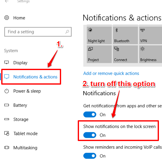 access notifications and actions and turn off show notifications on lock screen option