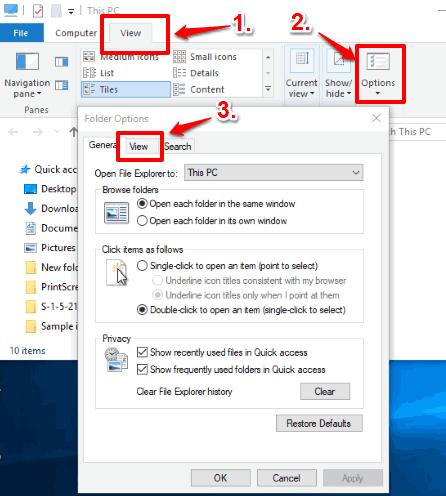 access options of view menu in file explorer