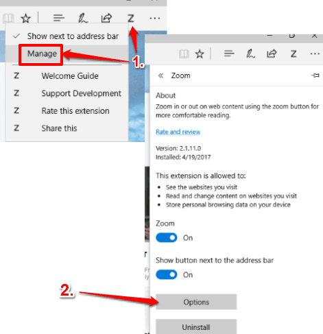 access options of zoom extension