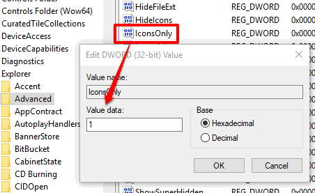 add 1 in value data of IconsOnly