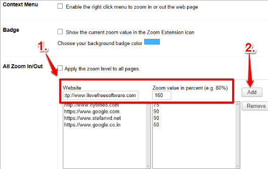 add websites and set their zoom levels