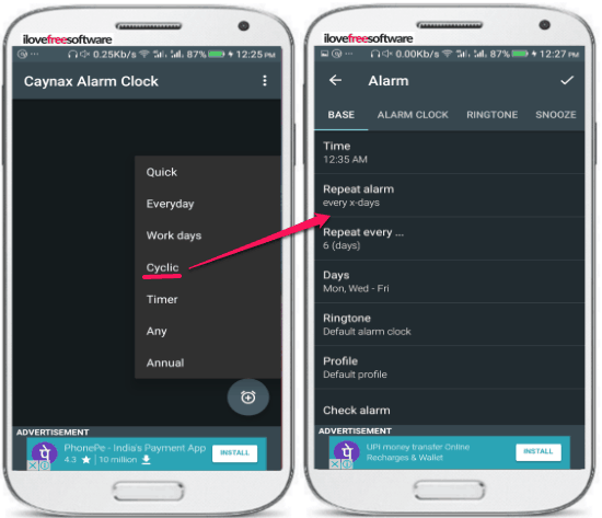android app to set recurring alarms- cayanax alarm- select cyclic timer