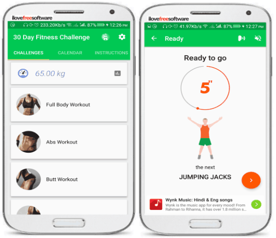 android apps to help you reduce weight- 30 day challenge work out