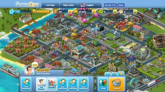 city building facebook games- supercity