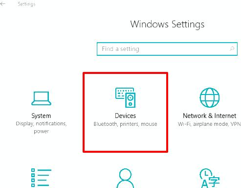 click devices menu
