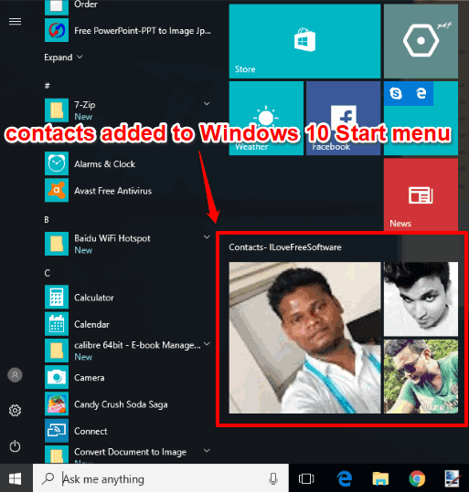 contacts added to windows 10 start menu
