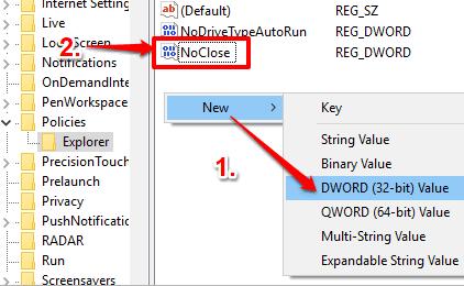create NoClose dword value