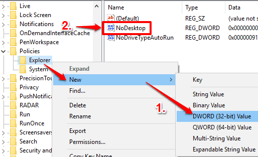 create NoDesktop dword value
