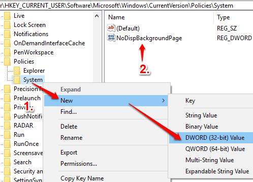 create NoDispBackgroundPage dword value