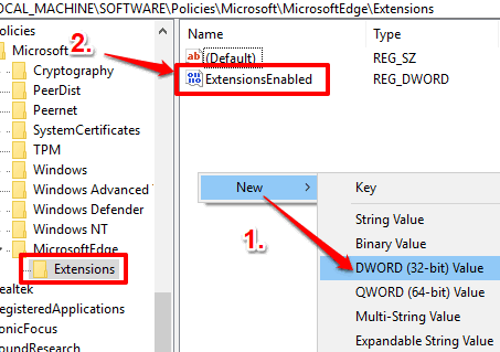 create extensionsenabled dword value