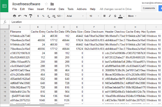 csv file of thumbnail cache list