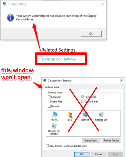 disable changing desktop icons in windows 10
