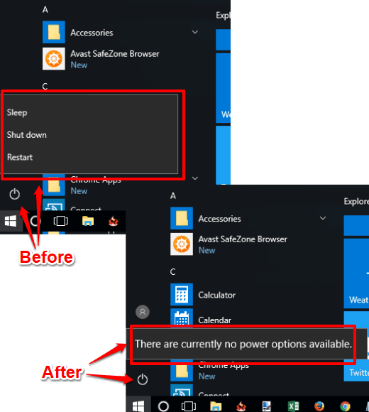 Disable Shut Down, Restart, Sleep Options In Windows 10