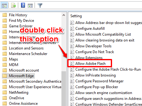double click allow adobe flash option