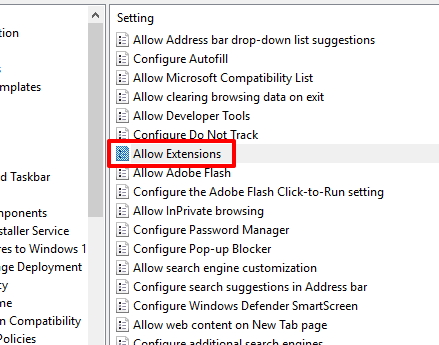 double click allow extensions option