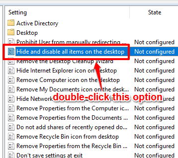 double click hide and disable all items on the desktop option