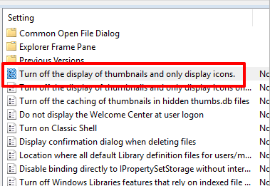 double click turn off display of thumbnails and only display icons option