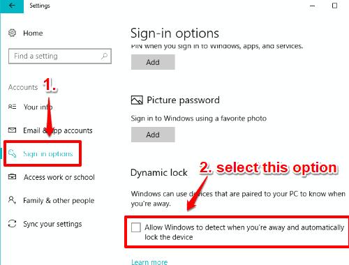 enable dynamic lock