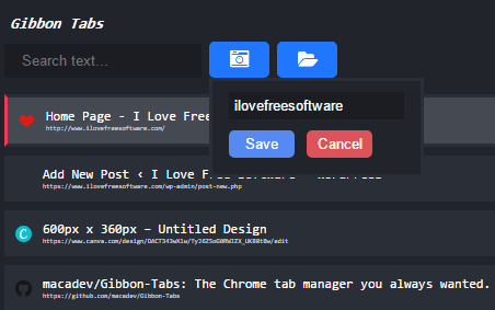 gibbon tabs- save the current chrome session
